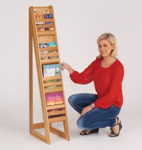 Bamboo Freestanding Literature Dispenser